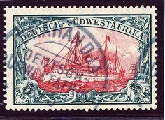 German Colonials, DP-Südwestafrika 1906, 5 Mk., Zhg. A, Mittelstück orange fluoreszierend, Prachtstück mit Stempeln von OKAHANDJA, gepr. Bothe BPP (gest., Mi.-Nr.32 Aa/Mi.EUR 370,--). Price Estimate (8/2016): 110 EUR.