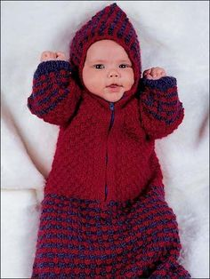 Free knitting pattern: Your newborn will stay cuddly and warm in this bright, richly textured bunting. Size: newborn 0-3 months. Made with worsted weight wool superwash yarn, sizes 6 and 7 needles, size F/5 crochet hook. For child safety, DO NOT use bunting in car seat.