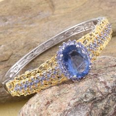 Color Change Fluorite and Tanzanite Bangle in 14K Yellow Gold and Platinum Overlay Sterling Silver (Nickel Free)