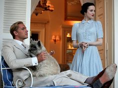 On the set of W.E. - the movie about the lives of Edward VIII and Wallis Simpson.  Actress Andrea Riseborough is wearing a dress based on a dress by Balenciaga.