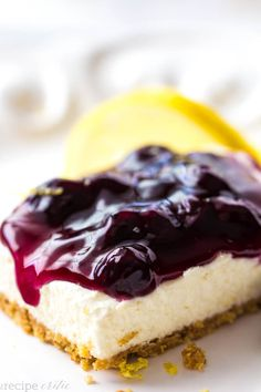 No Bake Lemon Blueberry Cheesecake Bars Recipe ~ Delicious and creamy lemon no bake cheesecake bars