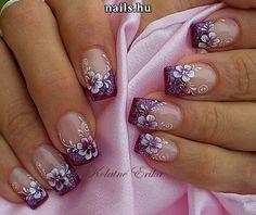 Spring Nail Designs - My Cool Nail Designs Purple Glitter Nails, Purple Nail Art, Purple Nail Designs, Floral Nail Art, French Nail Designs, Nail Designs Spring, Cool Nail Designs, Acrylic Nail Designs, Cute Nails