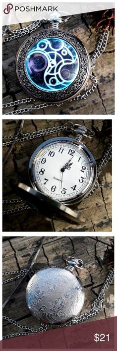 "Celestial Steampunk pocket watch Silver finish with a full color enamel face.     All of my pocket watches come each in a black velvet pouch with a spare battery. As a special ""Thank You"" a beautiful pair of silver earrings. Choose your gift! Accessories Watches"