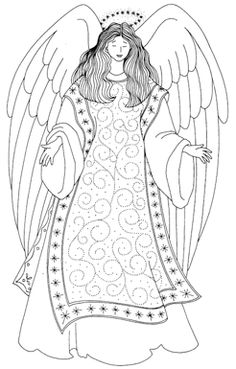 O mundo colorido: 200 Figuras, imagens, moldes e desenhos de anjos! Colorir pintar-Parte 2 (even though I can't read this, the angel is lovely) Angel Coloring Pages, Colouring Pages, Adult Coloring Pages, Coloring Books, Coloring Sheets, Christmas Angels, Christmas Art, Angel Drawing, Angel Crafts
