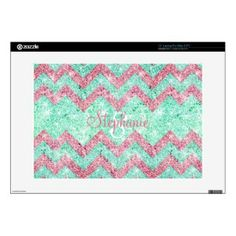 Monogram Chevron Pattern Pink Teal Glitter Photo Skins For Laptops
