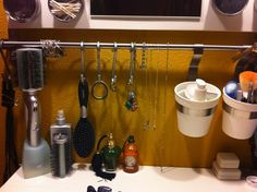 IKEA Hack. Nice way to store cosmetics & toiletries for easy access.