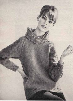 Jean Shrimpton models a chunky knit sweater with big cosy collar fastened with one button, 1960s