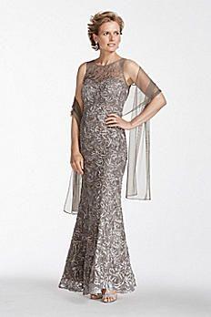 Sleeveless Illusion Neckline Soutache Dress 3016DB