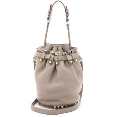 Alexander Wang Diego Small Bucket Bag featuring polyvore, fashion, bags, handbags, shoulder bags, oyster, brown purse, genuine leather purse, alexander wang purse, alexander wang handbags and genuine leather shoulder bag
