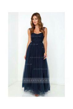 Navy Shoulder Straps A-line Tulle Long Bridesmaid Dress