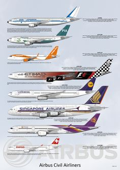 This high resolution Poster of the Airbus Civil aircraft range and includes the A300, A310, A320 family, A330, A340, A350, A380 and A220 giving details of the the aircraft and the drawing.  There are two layouts, both include all the aircraft and version B shows company milestones and manufacturing details.