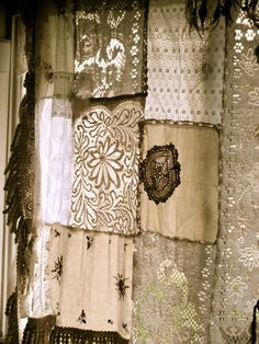 Patchwork Shabby Chic Farmhouse Curtain - made from scraps of vintage tablecloths and lace - via Gypsy River