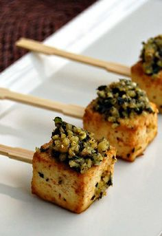 ROASTED TOFU LOLLIPOPS with PESTO [chowvegan]