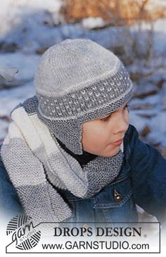 Kids' Accessories - Free knitting patterns and crochet patterns by DROPS Design Baby Knitting Patterns, Baby Hats Knitting, Knitting For Kids, Knitting Stitches, Baby Patterns, Free Knitting, Crochet Patterns, Knitted Hats Kids, Kids Hats