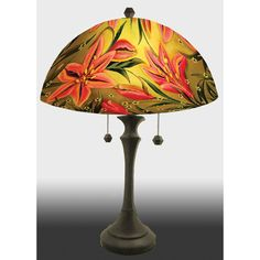 Lovely Lily Reverse Hand Painted Glass Table Lamp by Jamie Barthel