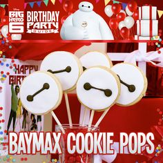 Disney's Big Hero 6 Birthday Party Ideas! Baymax Cookie Pops! Robots never looked so delicious, share these tasty treats at your Big Hero 6 kid birthday party!