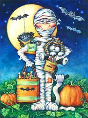 Halloween art by noted painter Gloria West.
