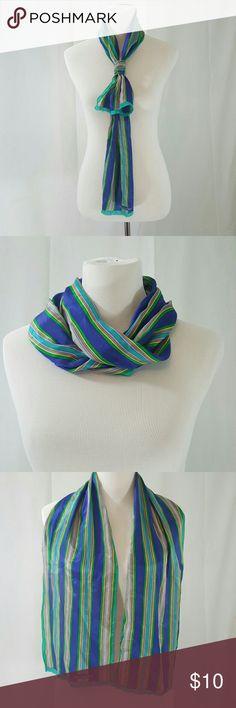 Vintage Blue Oscar De La Renta Silk Scarf EUC signed Oscar de la Renta blue and green striped silk scarf. Perfect for spring summer. I love to wrar these in my hair. Oscar de la Renta Accessories Scarves & Wraps