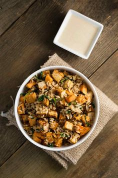 Tofu Sweet Potato Bowl with Sweet Tahini Sauce