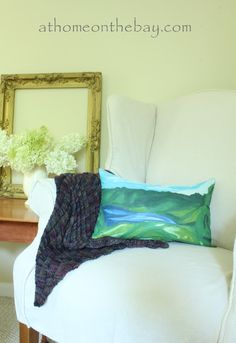 This is a paint by number pillow!   Great inspiration by Anthro!