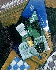 Juan Gris - Still Life with Water Bottle, Bottle and Fruit Dish, 1915