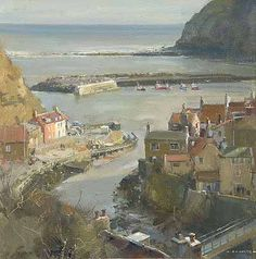 Artist David Curtis 2012 - 'Winter from the Nab - Staithes' at the Richard Hagen Fine Art Gallery