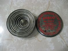 """Vintage Ateco 9 Nested Metal Round Biscuit Cutters 5 8"""" TO 3"""" AmericanTraditionCookieCutters.com"""