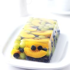 Prosecco and Summer Fruit Terrine Recipe Desserts with fruit, unflavored gelatin, prosecco, sugar, fresh lemon juice Jello Recipes, Dessert Recipes, Summer Fruit, Prosecco, Just Desserts, Health Desserts, Sweet Treats, Food And Drink, Cooking Recipes
