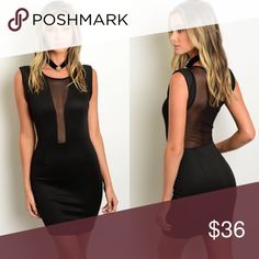 🎉LAST 1🎉 Sleeveless Black Mesh Open Back Dress New with tags. This stylish sleeveless knit dress features a sheer mesh front and back panel design.                                                                             🌸50% cotton, 50% polyester.                                                🌸Made in USA.                                                                  🌺PRICE IS FIRM UNLESS BUNDLED.                                 ❌SORRY, NO TRADES. Boutique Dresses Mini