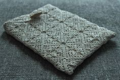 Fruits of My Loops: Old Meets New - Pouch for iPad made from an old crocheted table runner.