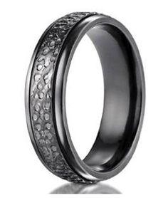 Men's Benchmark Black Titanium Hammered Wedding Ring | 7mm - JBT1015