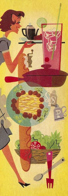 Hostess Montage… detail from cover of 641 Tested Recipes From the Sealtest Kitchens booklet - 1954