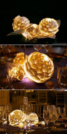 44 Awesome DIY Wedding Centerpiece Ideas & Tutorials 12 Paper Flowers With LED Lamp Inside Centerpieces Paper Flower Centerpieces, Lighted Centerpieces, Wedding Table Centerpieces, Wedding Decorations, Centerpiece Ideas, Centrepieces, Music Centerpieces, Flower Arrangements, Table Decorations