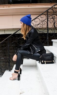 Black Leather Street Style and Cobalt Blue Beanie Hat | La Beℓℓe ℳystère