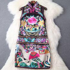 2016 primavera estate progettista delle donne vestiti vestito nero beige di lusso del ricamo di alta qualità europa fashion runway vestito di marca