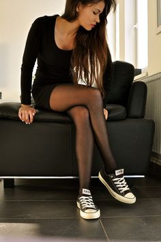 simple converse + black chill dressy little black dress sneakers casual comfy comfortable spring fall cool girl chic