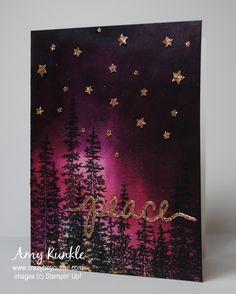 Christmas Night Sky - Amy Kunkle - Wonderland stamp set, Christmas Greetings Thinlits