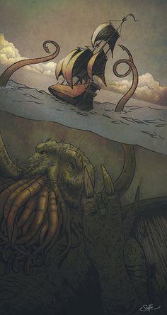 Cthulhu-Kraken Awakes - colour art print