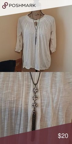 Blouse and necklace Cream and diamonds Blouse is Faded Glory necklace maurice Tops Blouses
