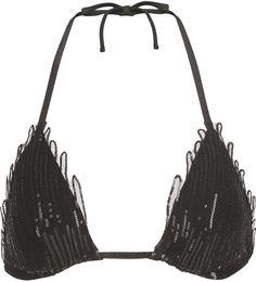 Magic Black sequin soutache triangle bikini top