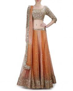 Orange Peach Lengha with Sequins Work - Malini Ramani - Designers