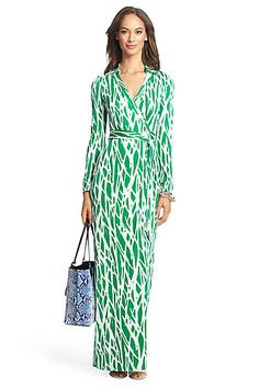Heritage New Jeanne Two Long Maxi Silk Jersey Wrap Dress in in Twigs Large Green