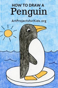 Learn how to draw a Penguin with this fun and easy art project for kids. Simple step by step tutorial available. art simple How to Draw a Penguin Penguin Drawing Easy, Penguin Art, Easy Drawings For Kids, Drawing For Kids, Art For Kids, Easy Art Projects, Projects For Kids, Directed Drawing, Winter Crafts For Kids