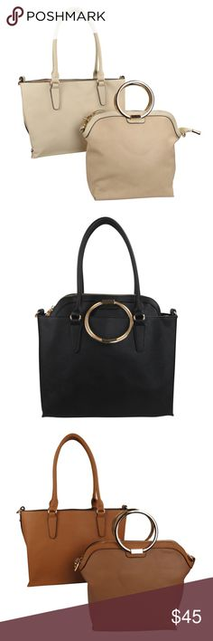 """2 in 1 Handbag Monogram Ready Dimensions Outer: 15.5""""W x 10""""H x 5""""D, Inner: 13""""W x 11""""H x 4.5""""D Material Faux Leather Outer Tote:  9.5'' handle drop  Maximum shoulder strap length: 24''  Not Lined  No Pockets  Inner Tote:  3.5'' handle drop  Inner Pockets: Two Slip and One Zip  Outer Pocket: 1 zip Bags"""
