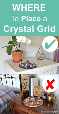 Where should you place a crystal grid? Where are the best places to put a crystal grid in your home or a room? Are there bad places to put a crystal grid? Crystals In The Home, Diy Crystals, Chakra Crystals, Crystals And Gemstones, Stones And Crystals, Feng Shui Crystals, Crystal Altar, Crystal Magic, Crystal Healing Stones