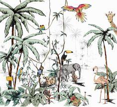 JUNGLE wallpaper tonal colors Unique in premium design Jungle Wallpaper, Boys Room Wallpaper, Watercolor Wallpaper, Wallpaper Size, Nursery Wallpaper, Wallpaper Wallpapers, Unique Wallpaper, Iphone Wallpapers, Jungle Nursery