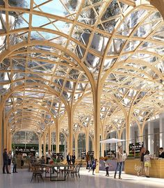 """a market hall is contained beneath a tree-like timber canopy in shigeru ban's proposal for a concert venue for the 'reinventer paris' masterplan. the…"""