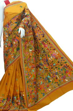 Multicolor Pure Silk Embroidered Kantha Saree