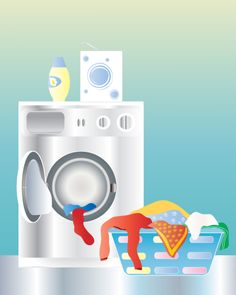 laundry: an illustration of a washing machine with an open door and laundry basket on a shiny kitchen floor Clean Washing Machine, Housekeeping Tips, Budget, Cleaners Homemade, Free Tips, Natural Cleaning Products, Home Hacks, Getting Organized, Clean House