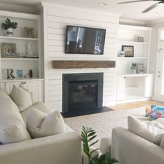 Basement fireplace, family room walls, shiplap fireplace, basement family r Home Living Room, House, Home, Home Fireplace, Living Room Built Ins, Living Room Remodel, Home Remodeling, Fireplace Design, Room Remodeling